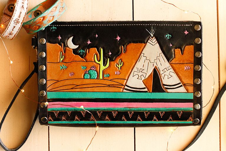 Tooled Leather Wristlet Clutch with a retro desert scene and teepee by  Allie Falcon a7cfead087