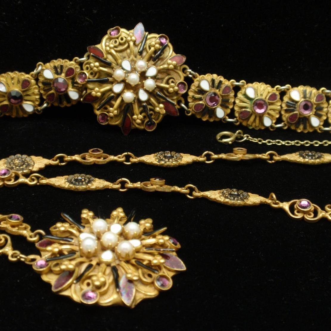 Hobe necklace bracelet set austrohungarian influenced design vintage