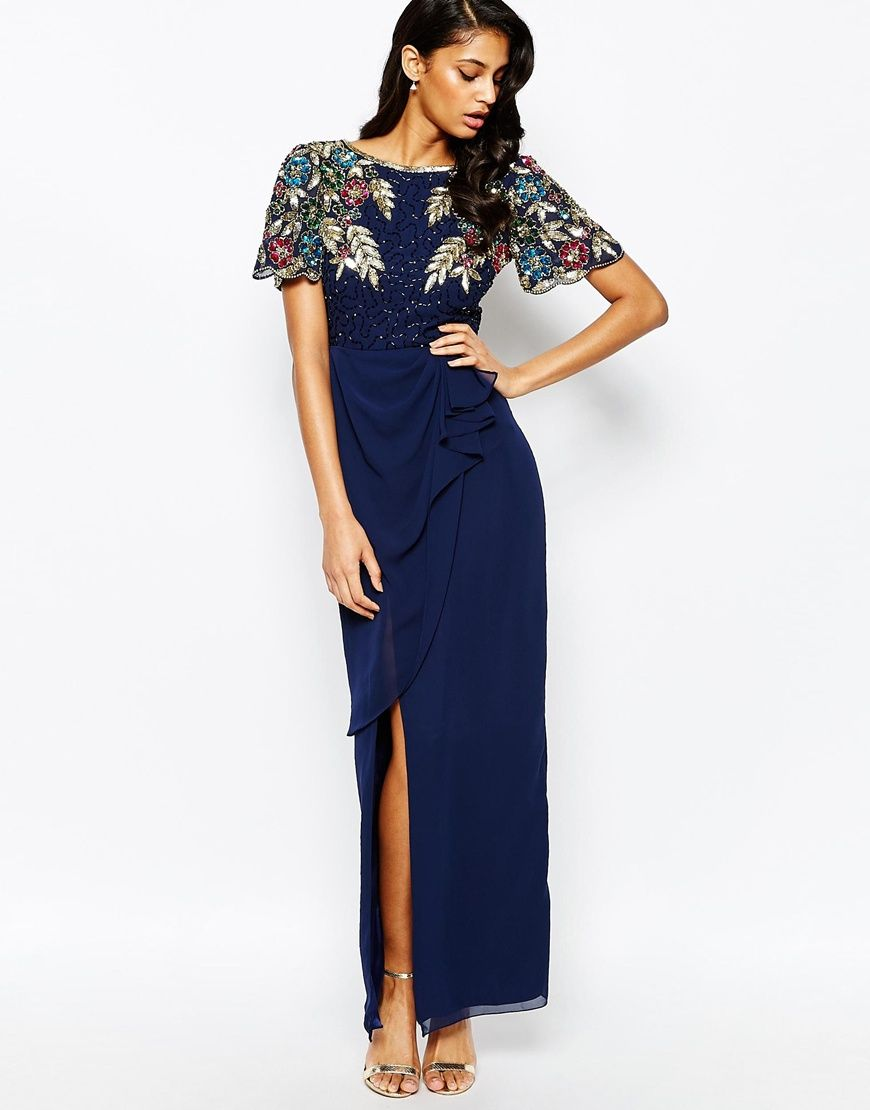 Virgos Lounge Ariann Embellished Maxi Dress With Frill Wrap Skirt ...