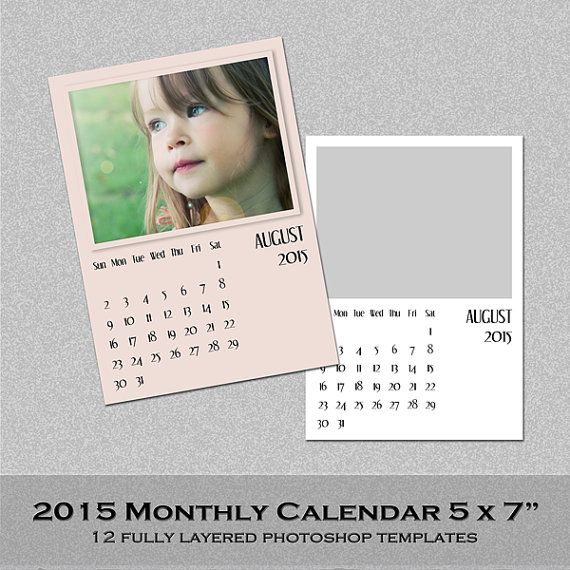 2018 Monthly Photo Calendar Psd Template 5x7 Instant Download