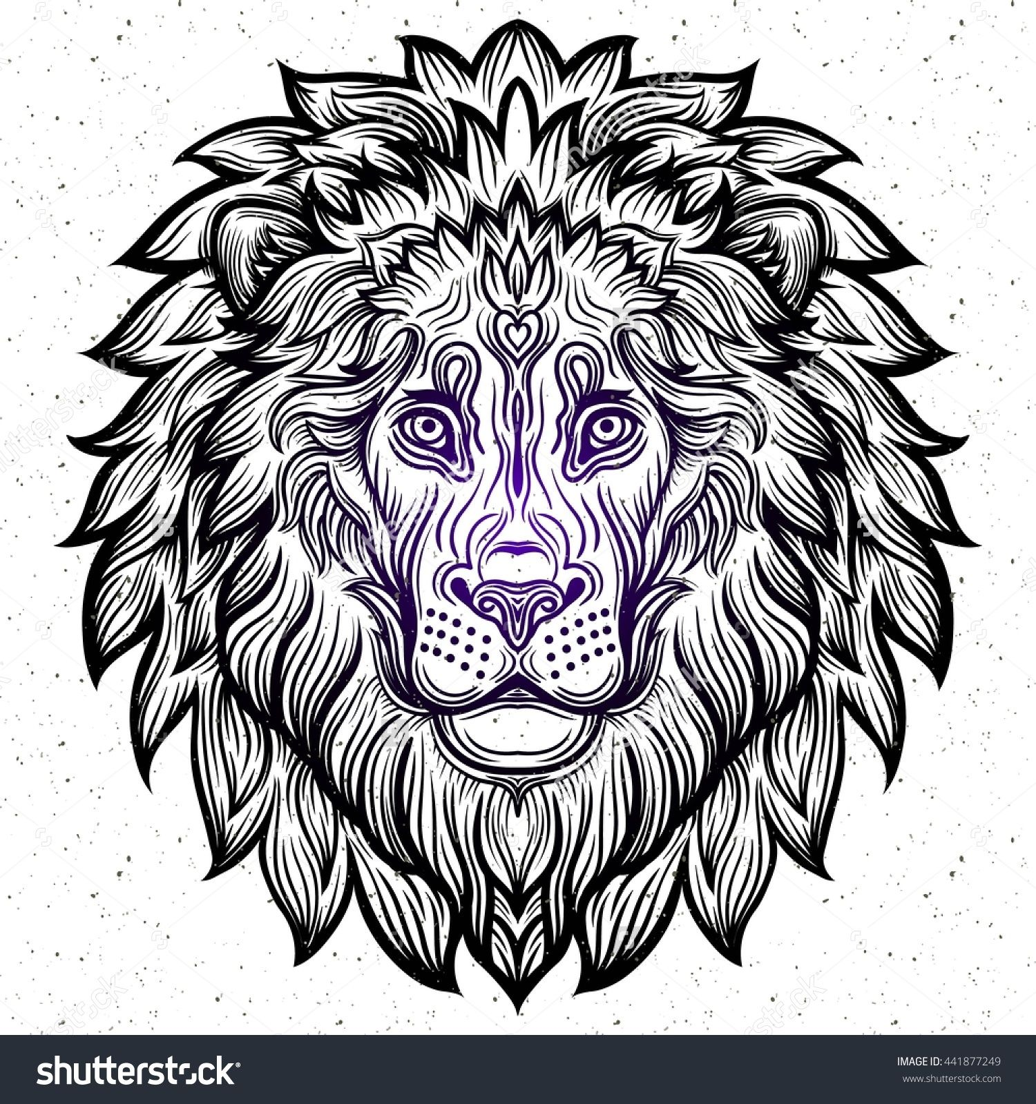 detailed lion in aztec filigree line art zentangle style tattoo