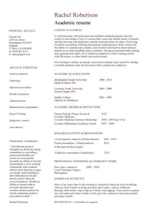 academic template curriculum vitae student application jobs graduate school resume for admissions