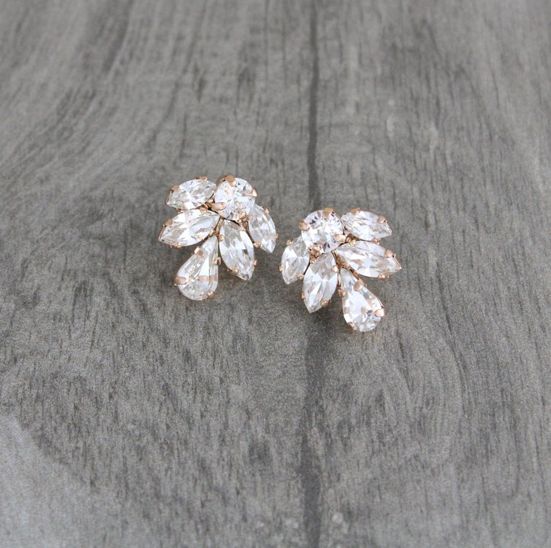 Rose gold Stud earrings Simple Bridal earrings Bridal jewelry   Etsy