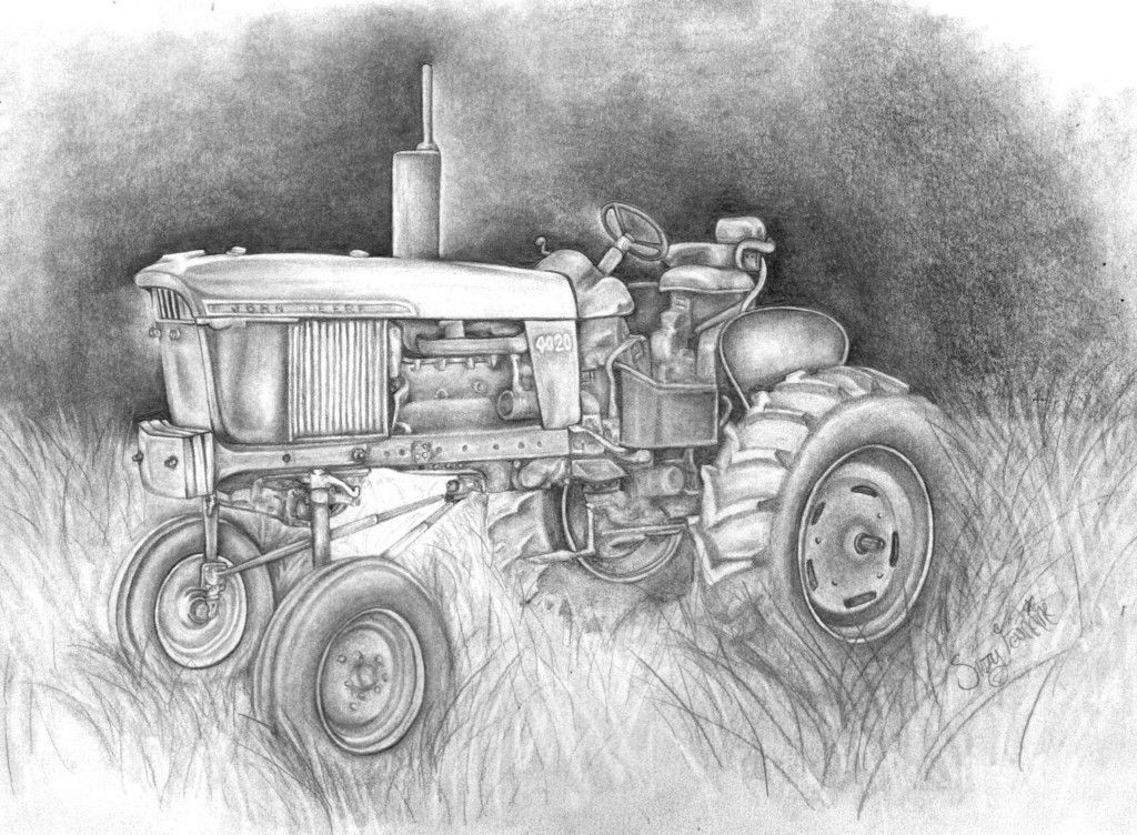 john deere farmall tractor graphite sketch john deere ...