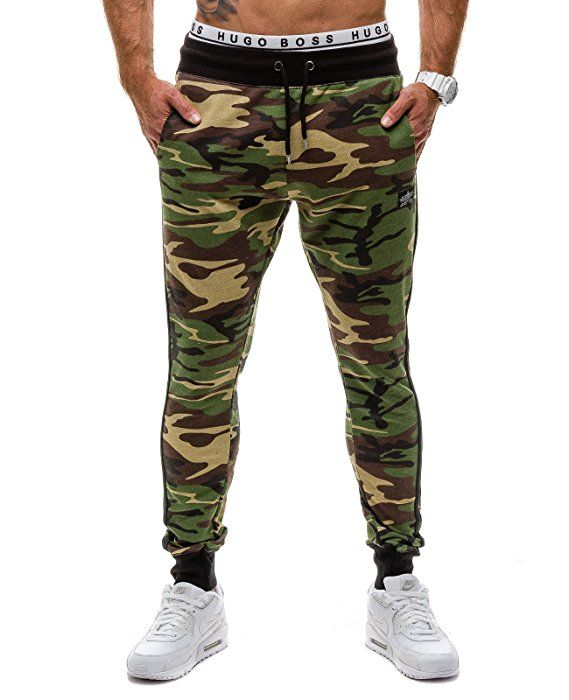 MADMEXT 1124 Verde M  6F6  Hombre Bolsillos Gym Pantalones Diseño de  Camuflaje 5da511d066e0