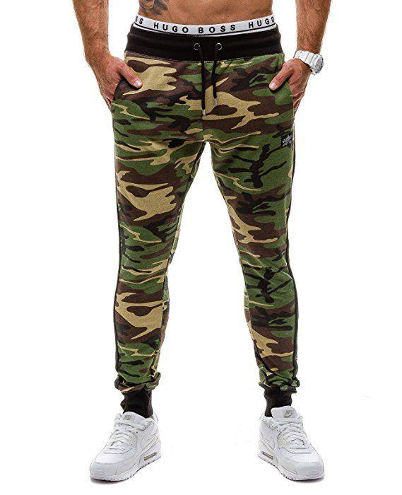 MADMEXT 1124 Verde M [6F6] Hombre Bolsillos Gym Pantalones Diseño de  Camuflaje