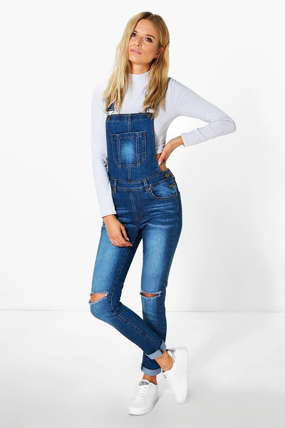 14304a0e46b Boohoo Womens Knee Rip Denim Dungarees