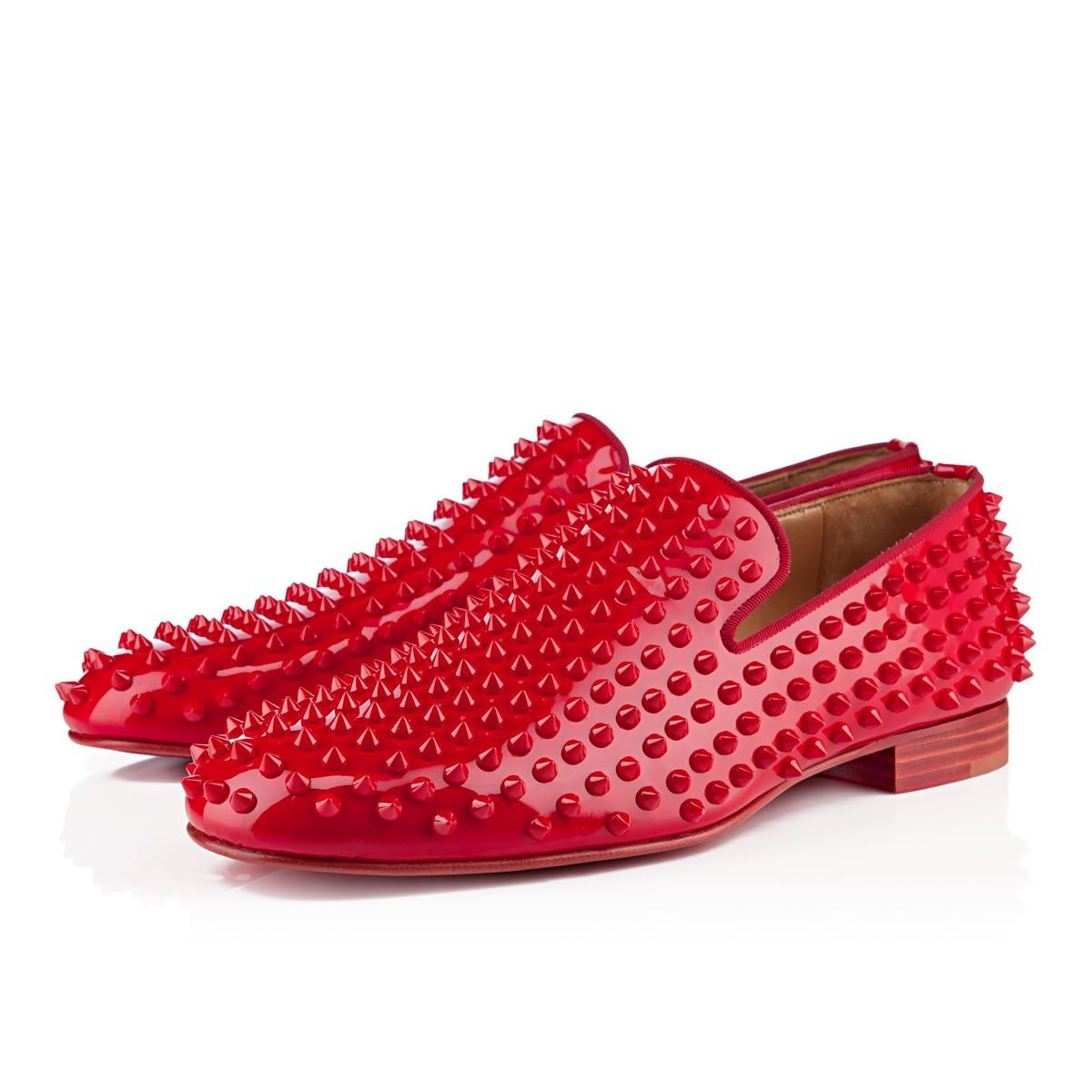 Red Christian Louboutin Men S Rollerboy Spike Flats Hot Fashion