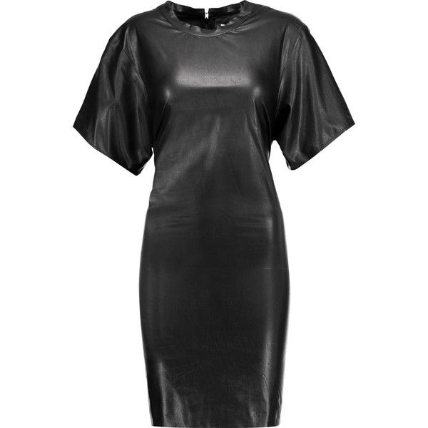 ISABEL MARANT ETOILE Jadis stretch faux leather dress (1.030 BRL) ❤ liked on Polyvore featuring dresses, etoile isabel marant dress, ruched dress, ruching dress, vegan dresses and toile dress