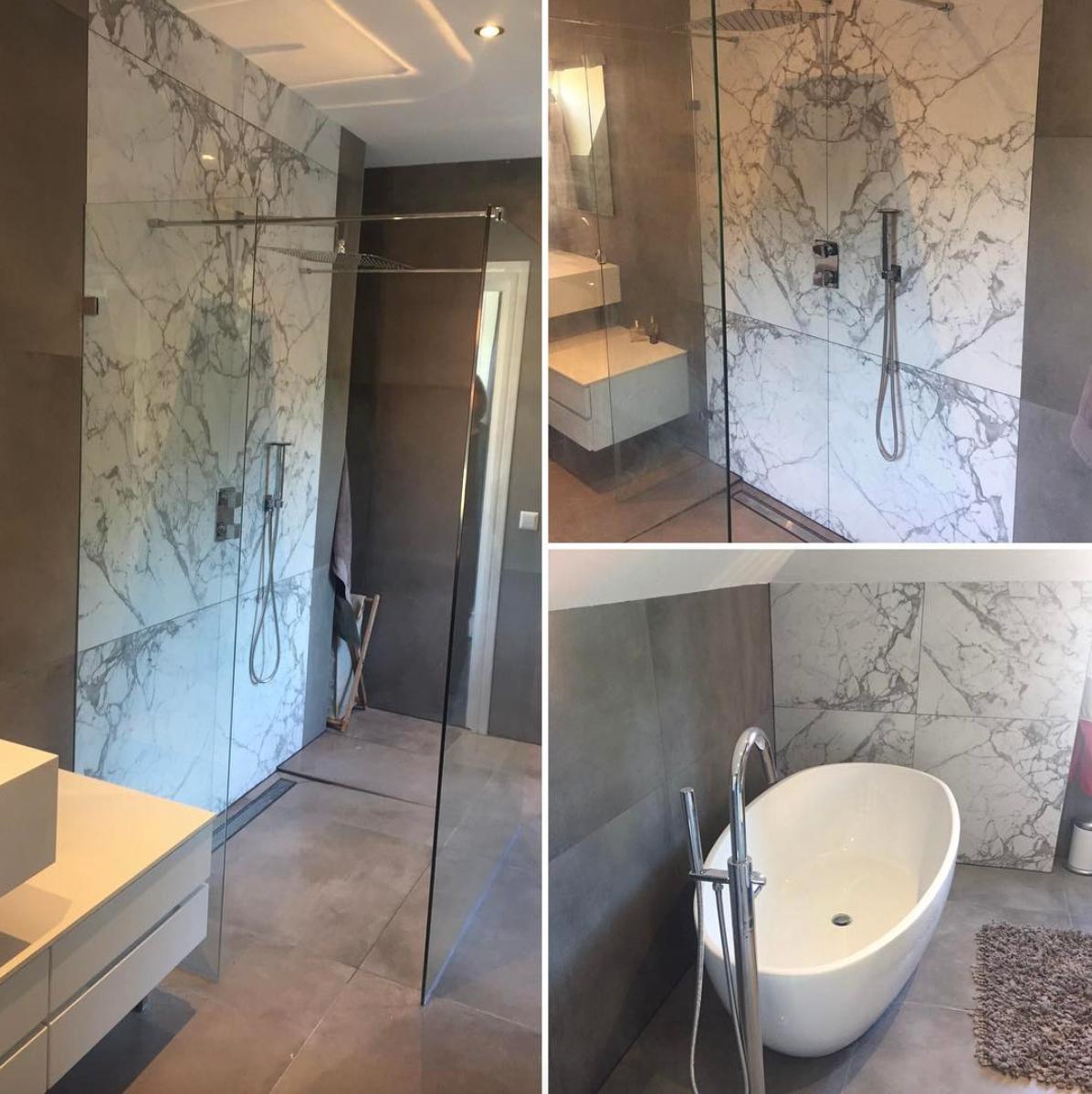 Resultaatfoto\'s van een recente badkamer renovatie. Combinatie van ...