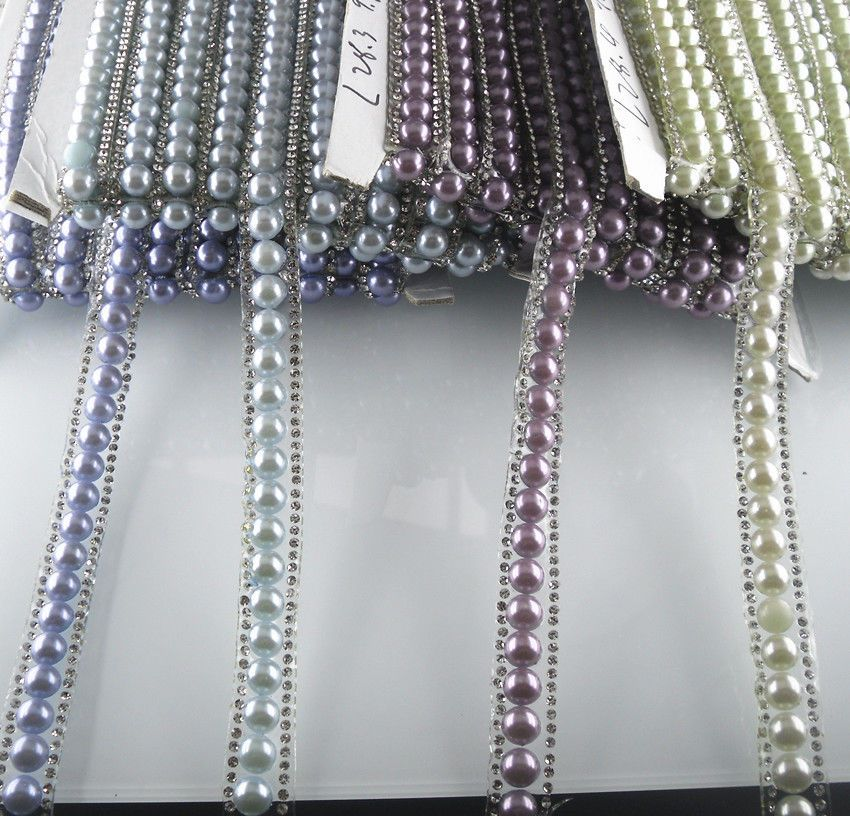 Type: Hotfix. glass rhinestones 1.5mm. resin pearl 8mm. chain wide 12mm. Color may vary slightly due to the color calibration of each individual monitor. Color: as picture. Arrive time. | eBay!