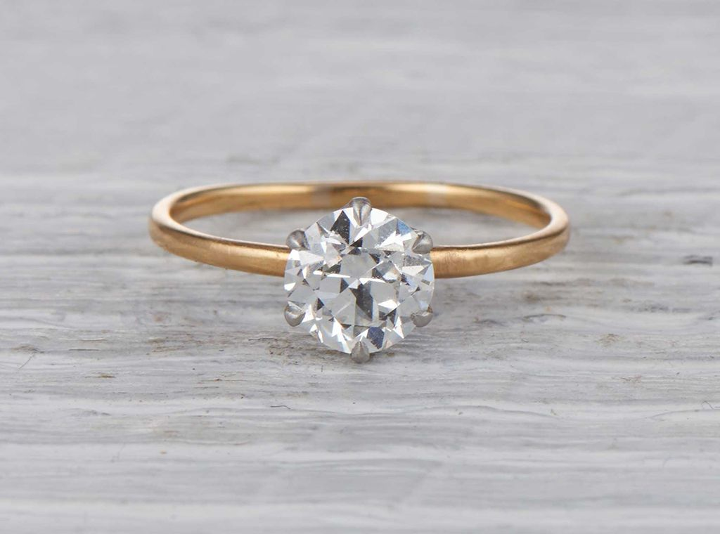 ac2fae10b96 Antique Edwardian Tiffany   Co. engagement ring made in 18k yellow gold and  platinum. Centered with a GIA certified 1.36 carat old European cut diamond  with ...