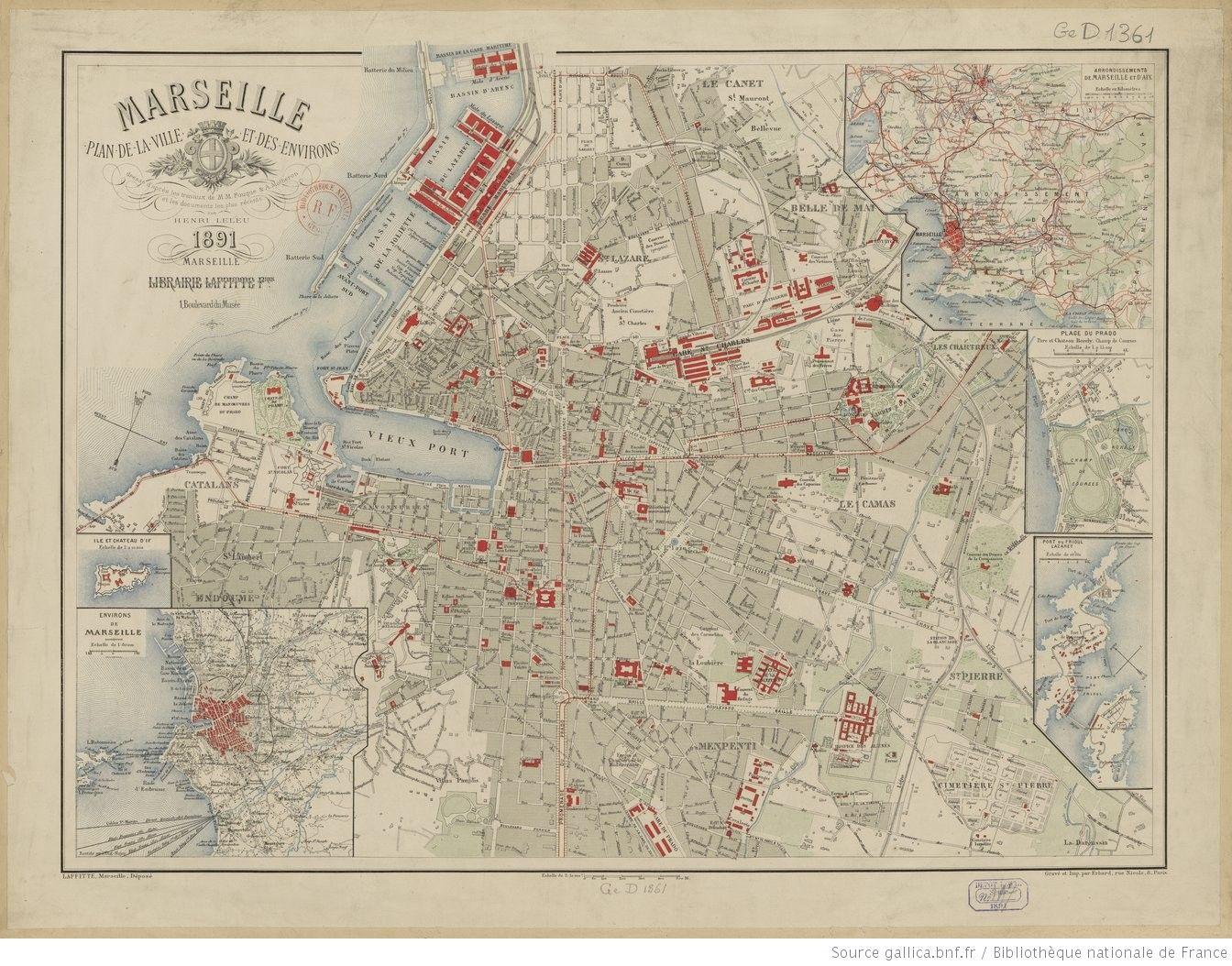 Marseille Plan De La Ville Et Des Environs Dresse D Apres Les