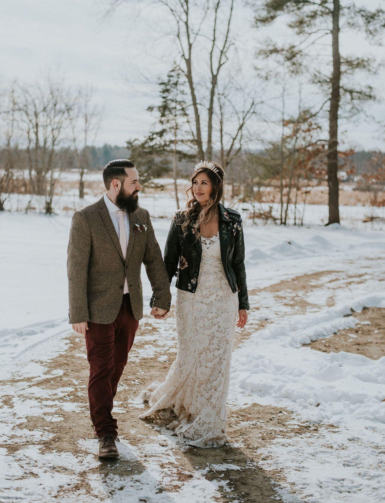 ab494f89355a Edgy Wedding Inspiration on a Cozy + Snowy Alpaca Farm | Bohemian ...