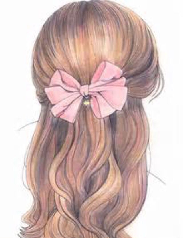Pink Ribbon And Brown Hair Drawing How To Draw Hair Pretty Drawings Girl Hair Drawing