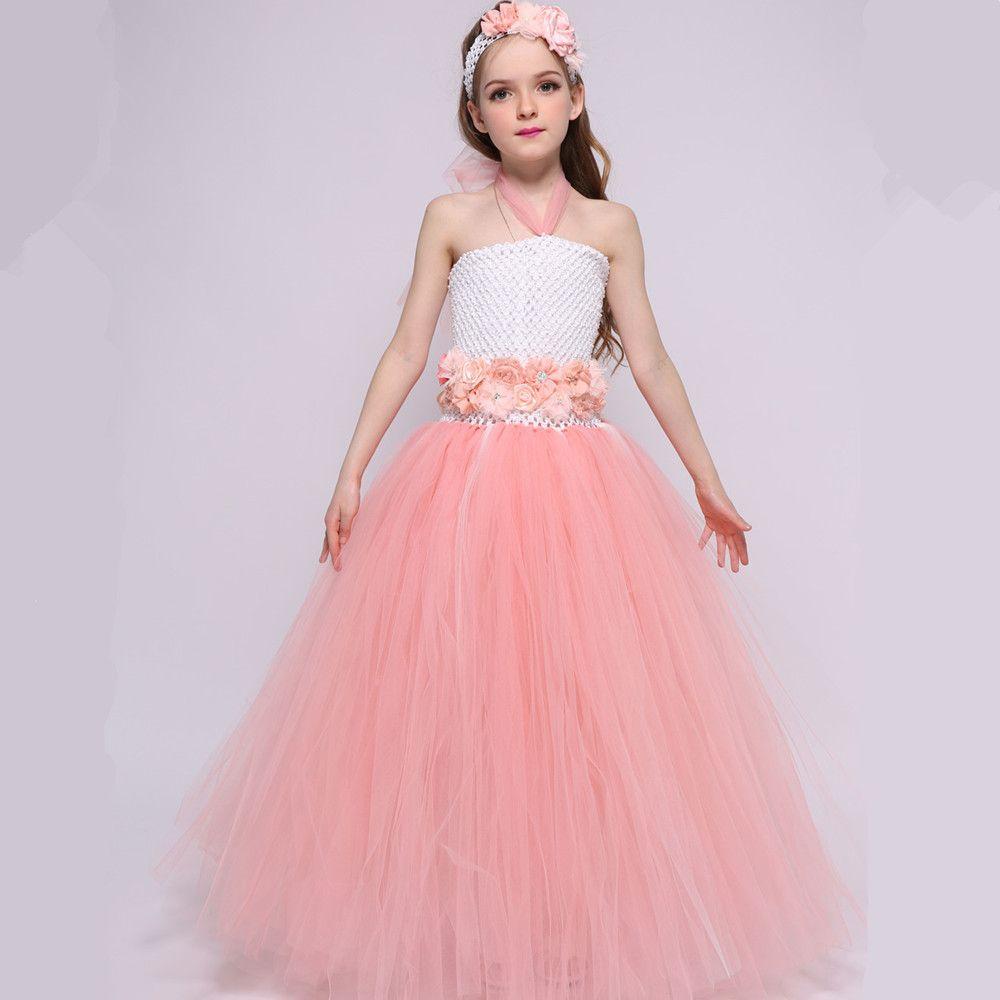Peach Flower Girl Dresses For Weddings Gowns Princess Tulle Tutu ...