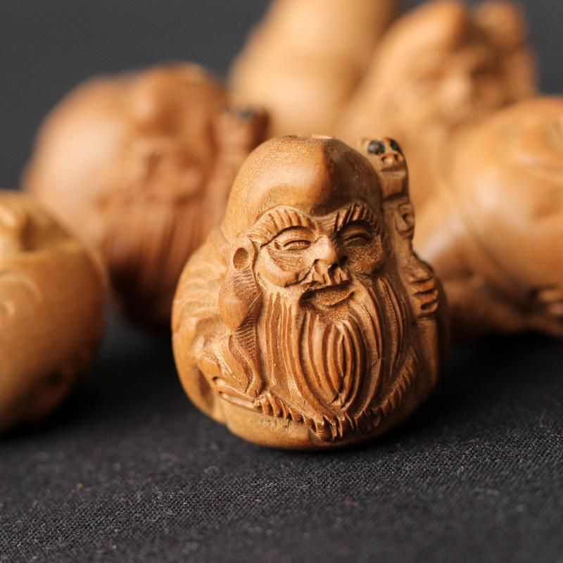 Natural Peach Wood Bead Chinese Mythical Figure Shape Wood Carving Jane Moon Peach Wood Wood Sculpture Carving