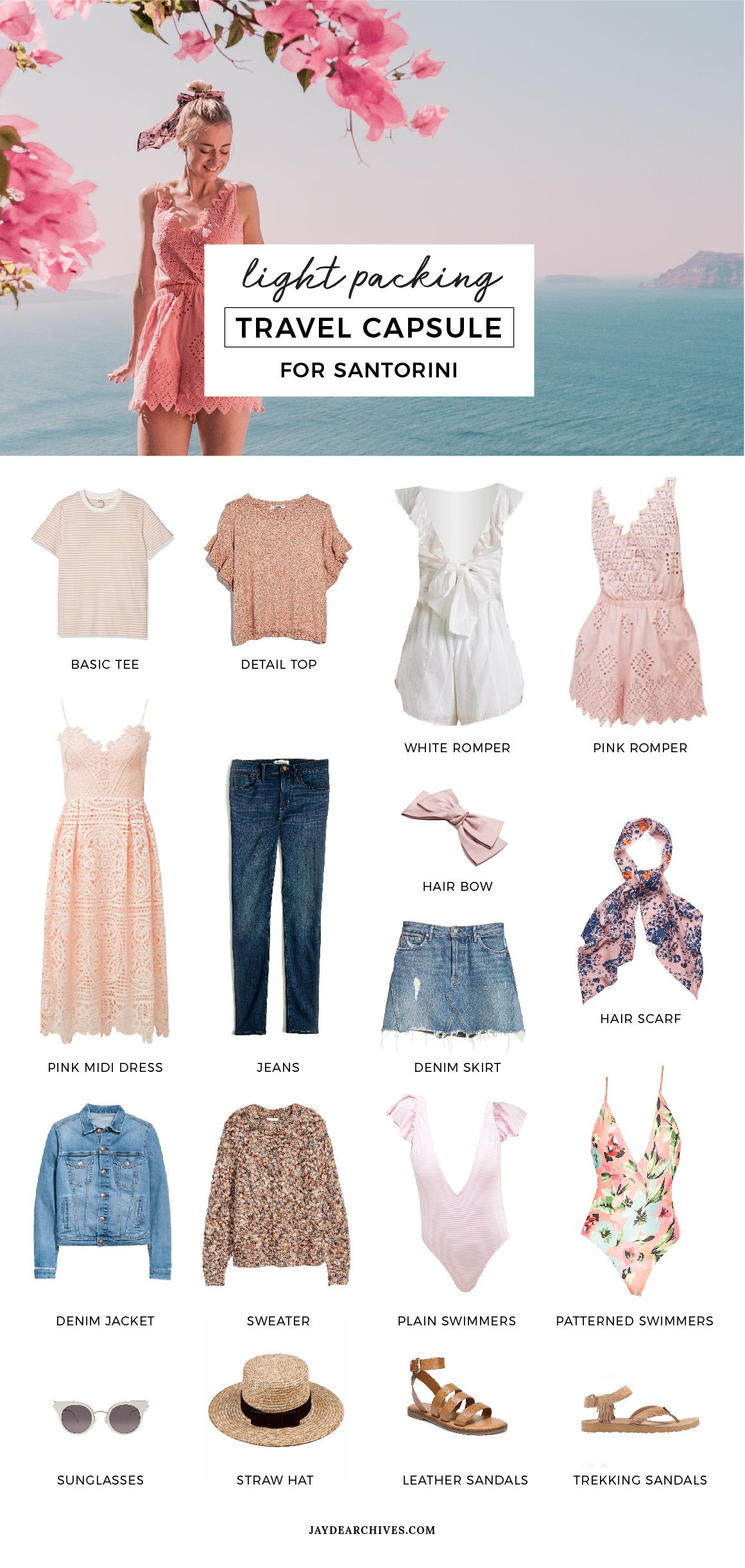 Travel Capsule Wardrobe for Santorini #travelwardrobesummer