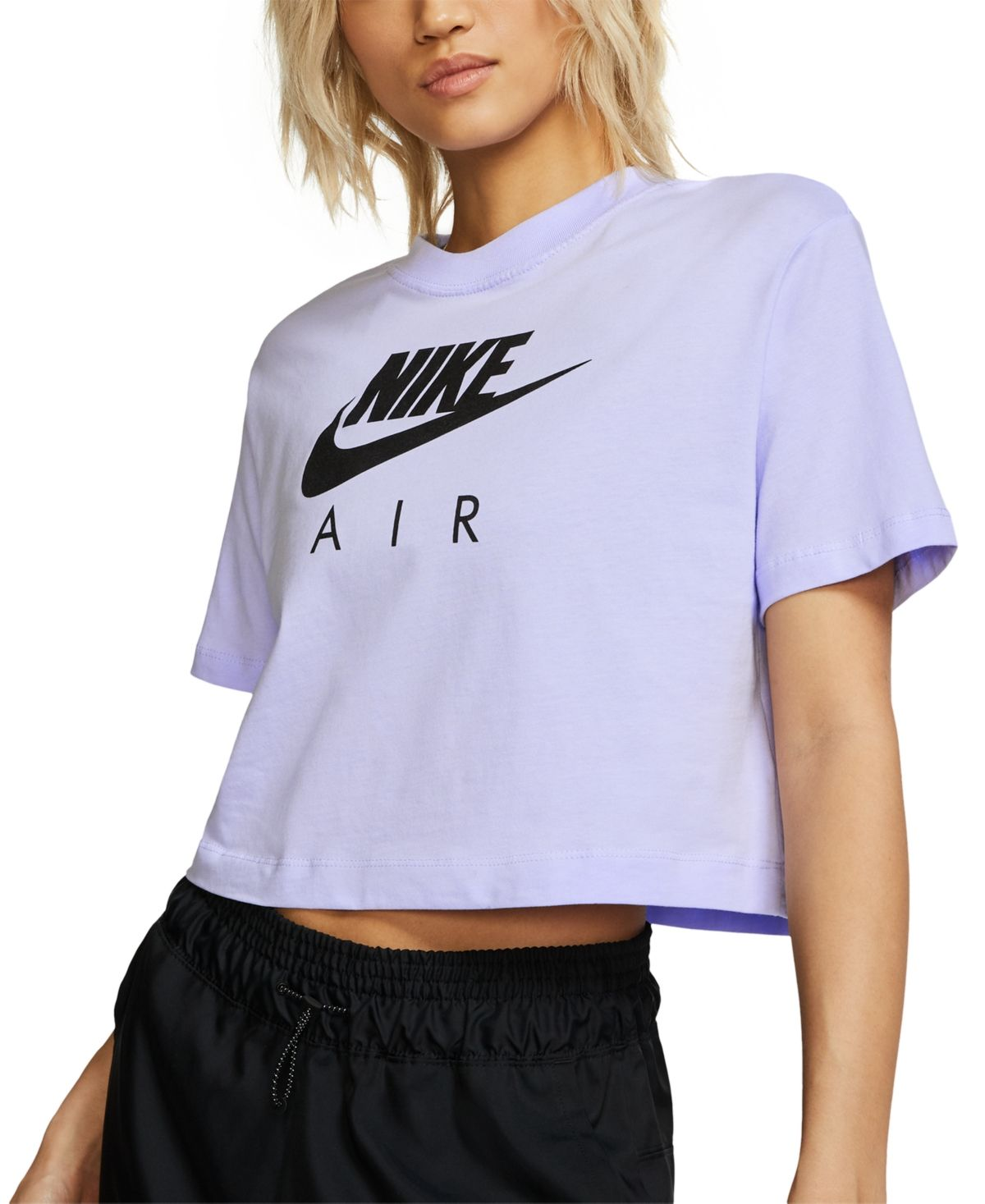 Nike Women S Air Cotton Cropped Top Lavender Mist Clothes Womens Clothing Tops Cotton Crop Top [ 1467 x 1200 Pixel ]
