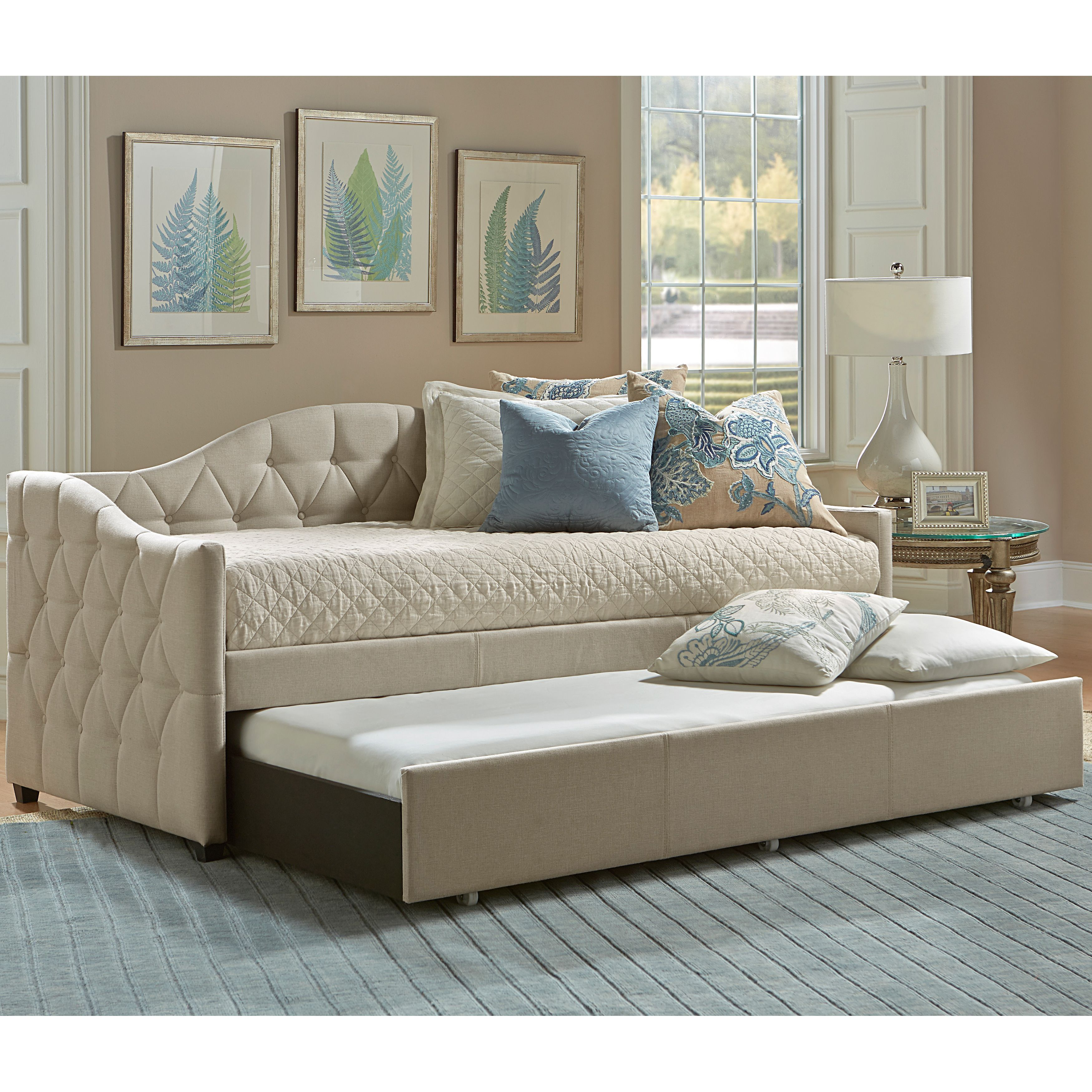 Best Jamie Beige Tufted Daybed With Trundle Overstock Com 640 x 480