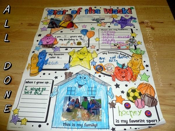 Making a Kindergarten Star of the Week Poster | Educational fun at ...