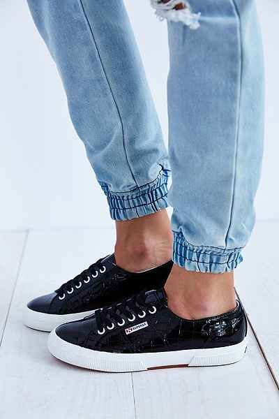 Superga Black Patent Croc Sneaker
