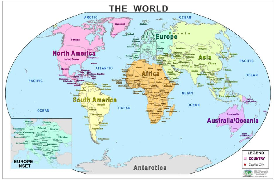 Basic World Map | Work | World map with countries, Map, Middle east map
