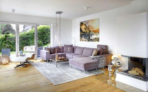 Ein Wohnzimmer mit Panoramakamin machen jeden Abend zu einem - wohnideen für wohnzimmer