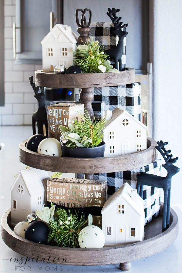 How To Easily Decorate a Farmhouse Tray for Christmas - Inspiration For Moms