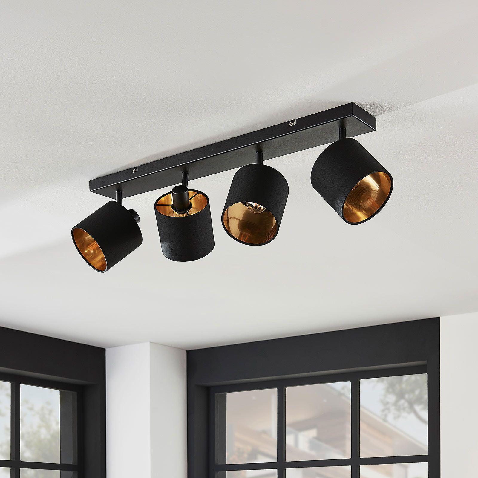 Stoffen plafondlamp Vasilia zwart-goud, 4-lamps van Lindby