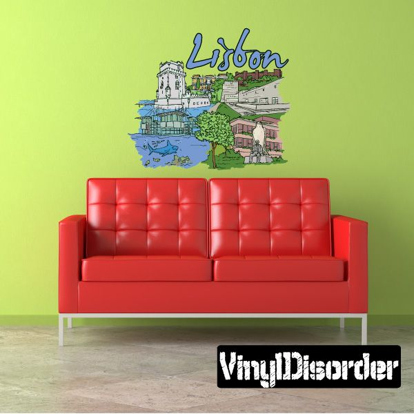 Famous City Lisbon Wall Decal - Vinyl Car Sticker - Uscolor068