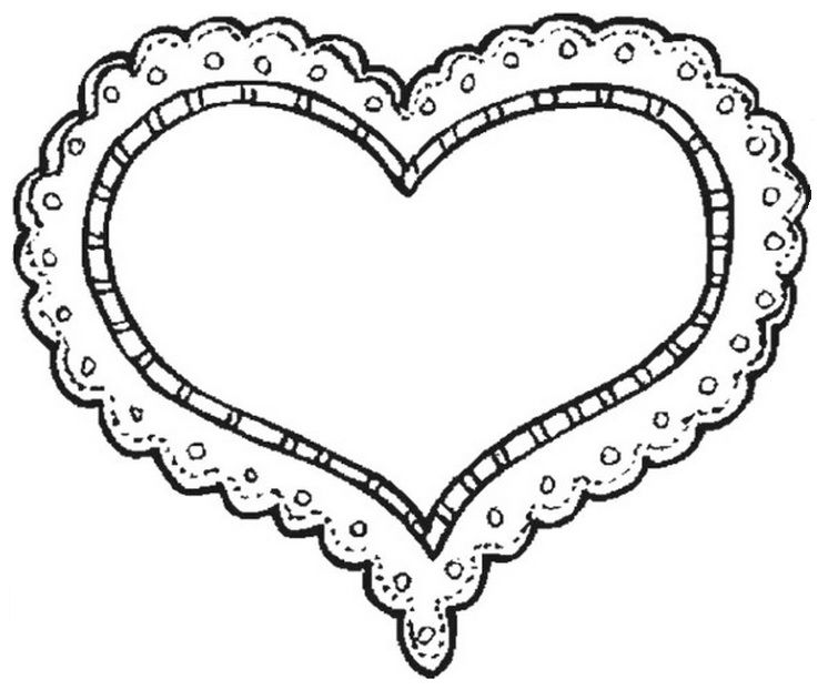 Heart Doily Valentine Coloring Pages Heart Coloring Pages