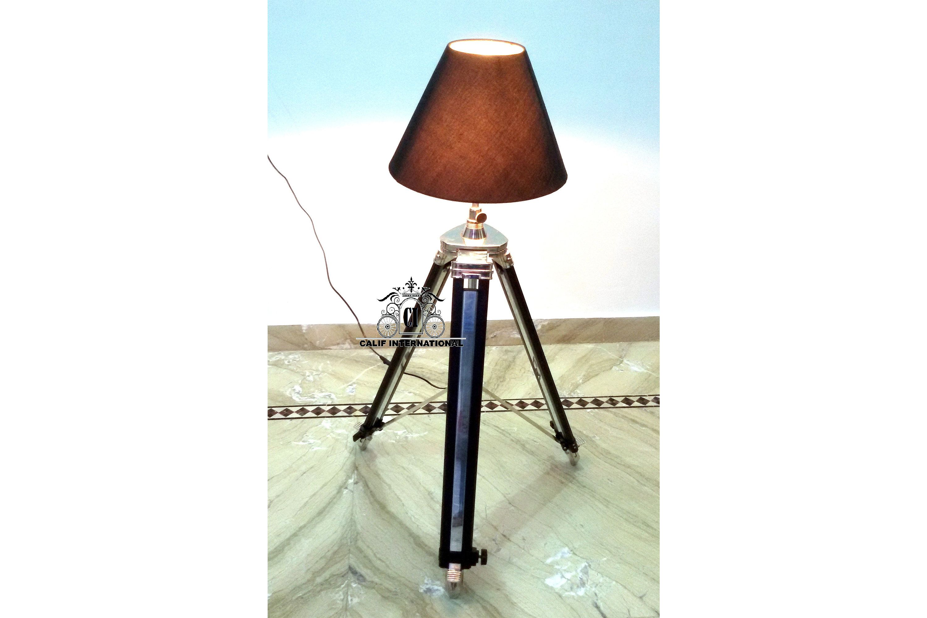 Modern Designer Style Floor Shade Lamp Without Shade With Black