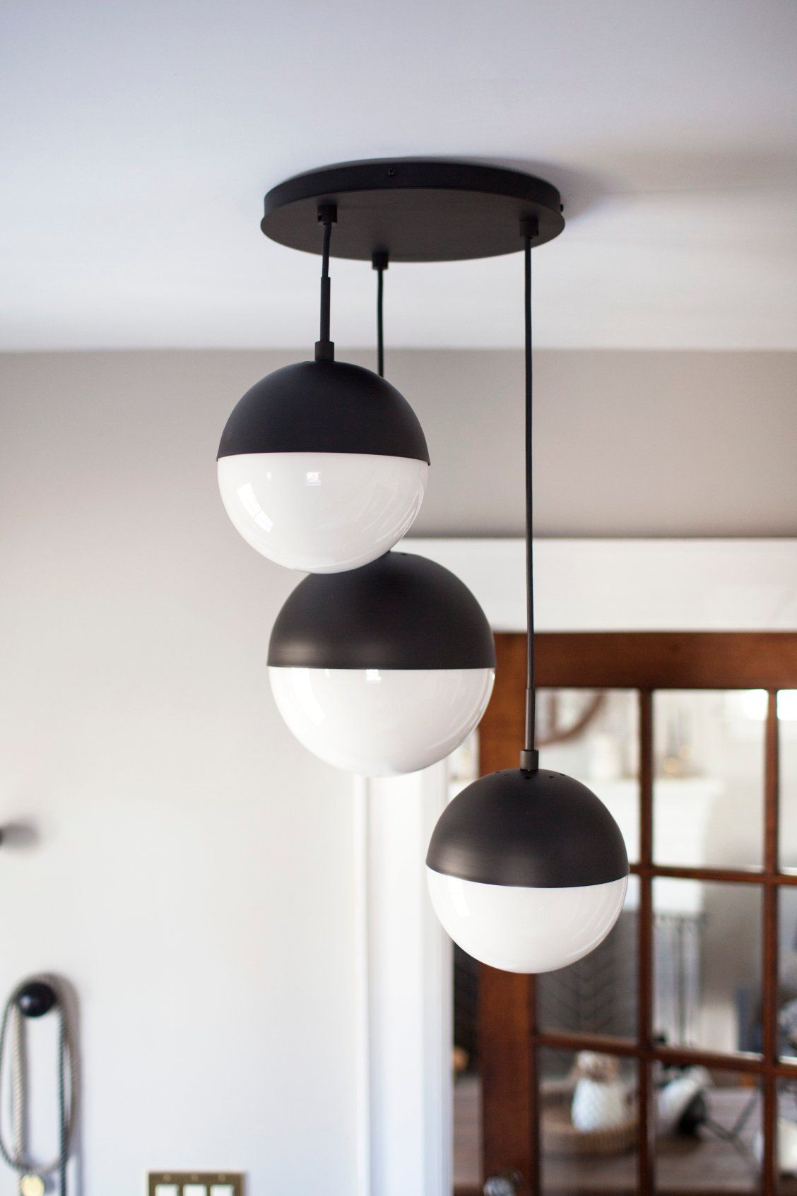 Cedar and moss chandelier black and white chandelier multipendant multi pendant multi globe chandelier globe chandelier three light chandelier