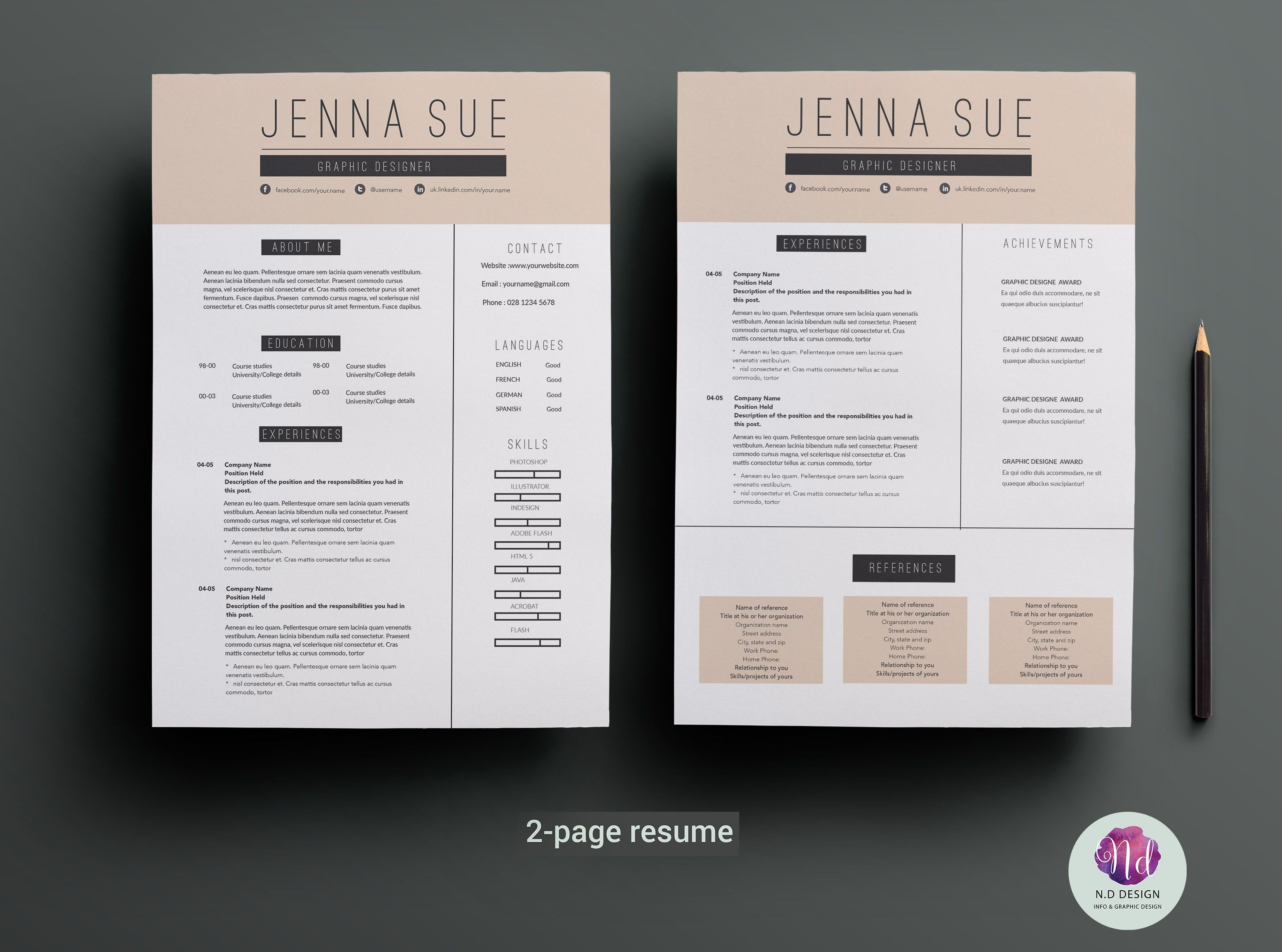 Page Resume Template By Chic Templates On