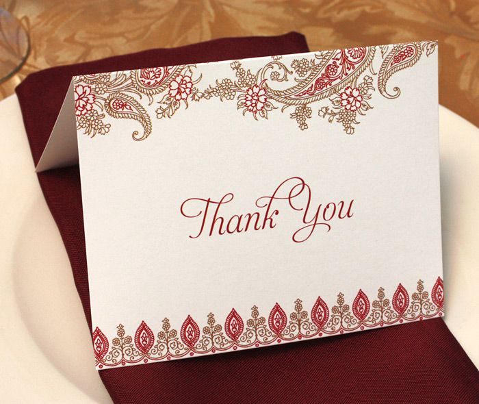 Folded Wedding Thank You Card With Gold And Red Floral Paisley