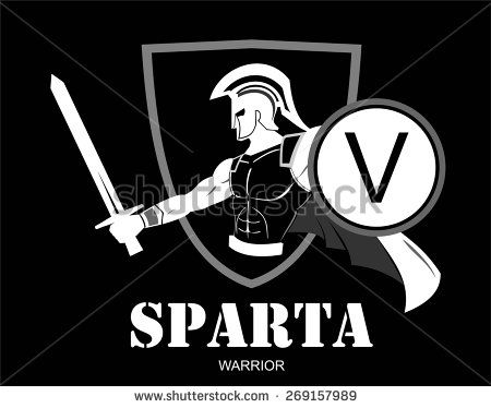 Trojan Or Spartan Warrior Holding Shield And Sword Over The Shield