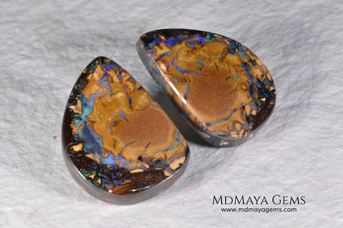 Australian Boulder Opal Pair 24.03 ct total Australian
