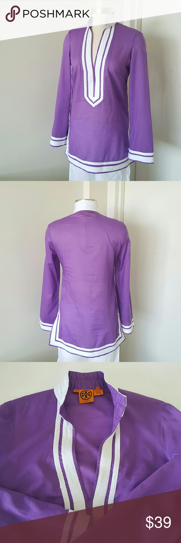 "Tory Burch Cotton Purple Tunic Authentic tunic from Tory Burch 100% cotton,  perfect with white jeans or linen pants,  very thin fabric,  been worn only one time exelent condition.  Measurements are length 29"" hip 38"" bust 38"" waist 34"" Tory Burch Tops Tunics"