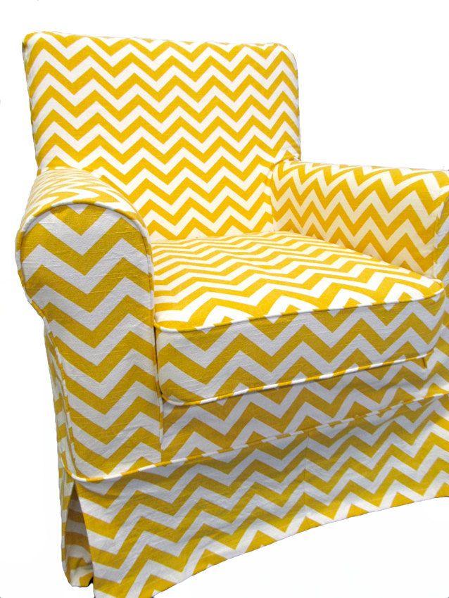 Ikea Jennylund Slipcover In Yellow Chevron By