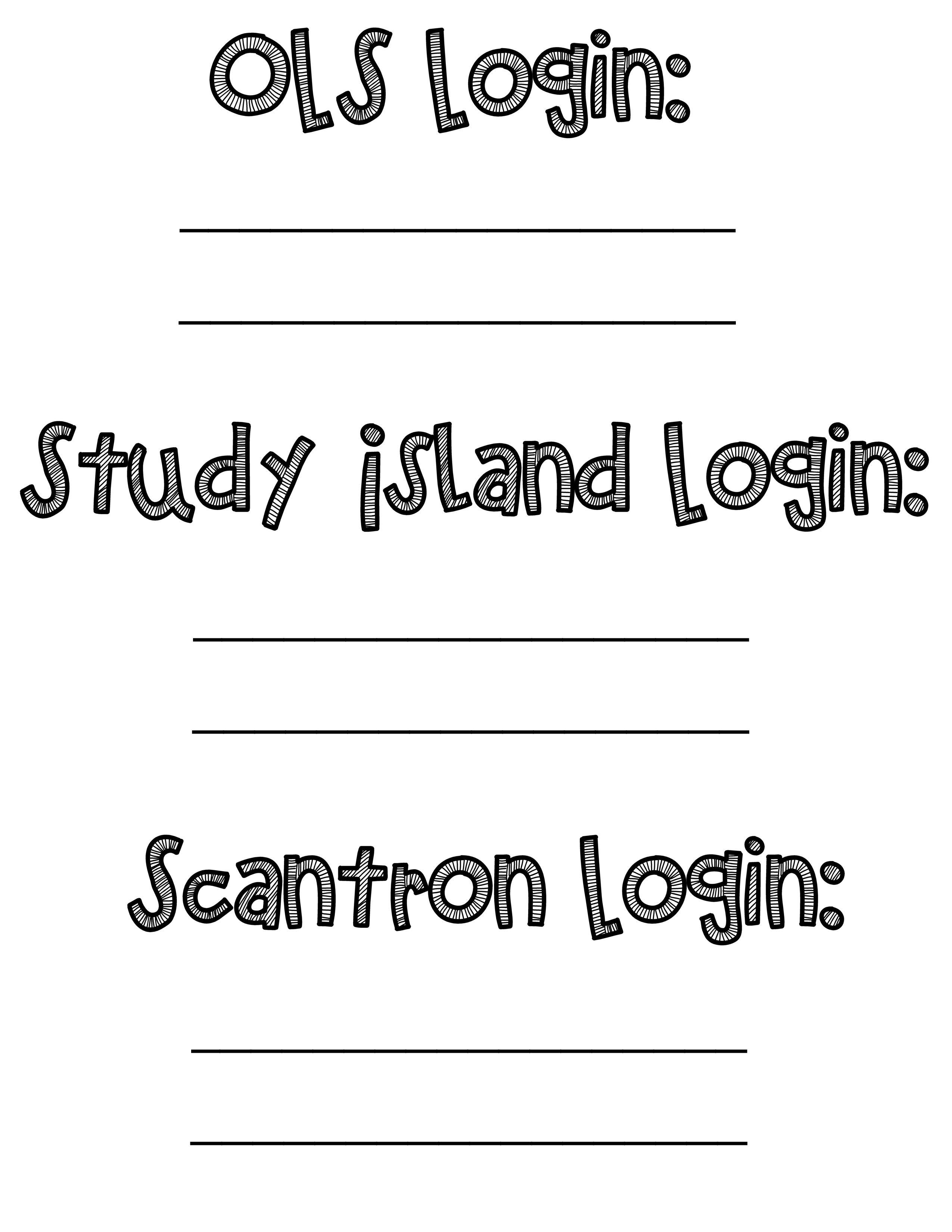 Login Info Page For Work Sample Binders