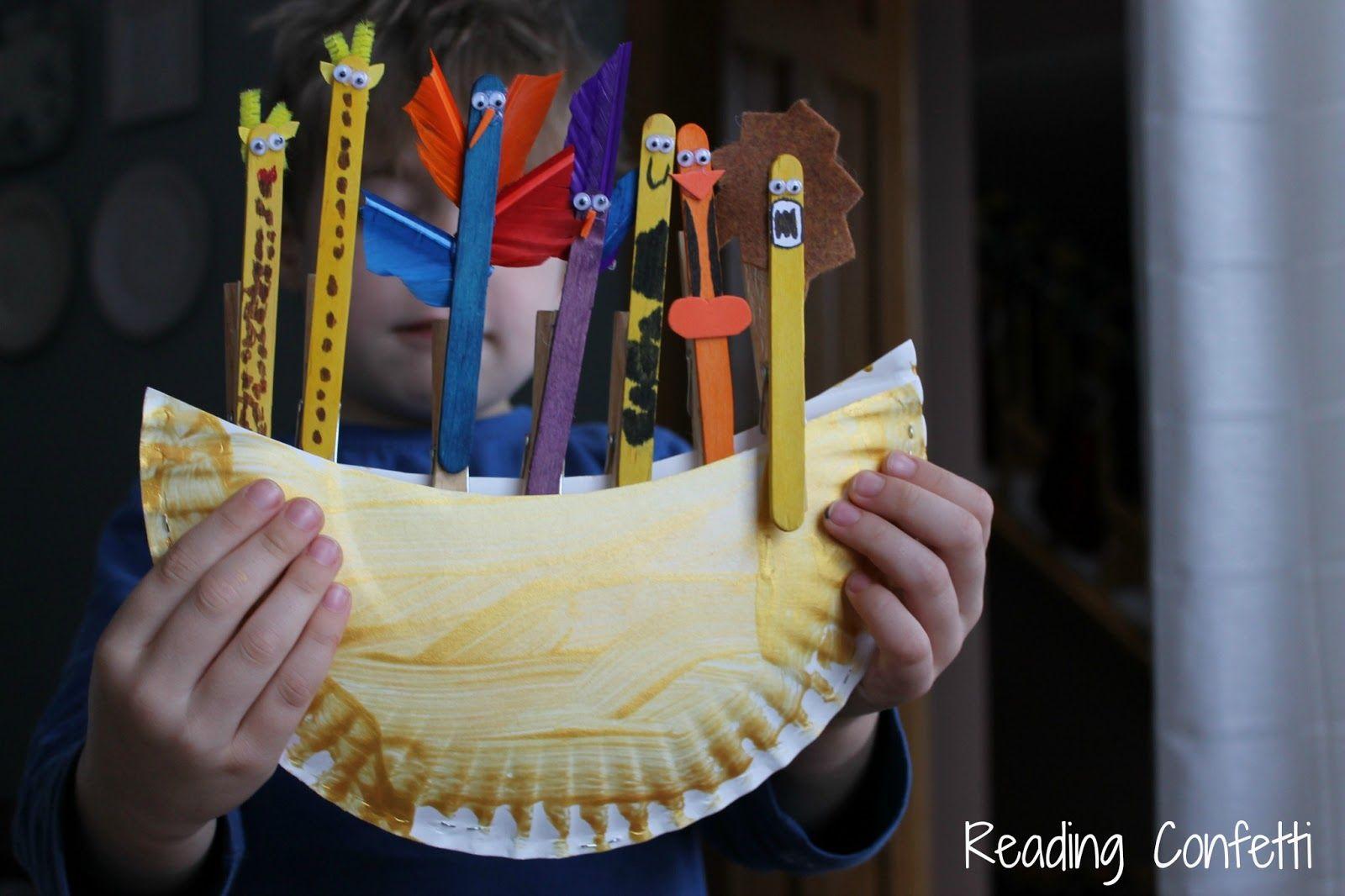 noah u0027s ark craft kid u0027s virtual book club reading confetti