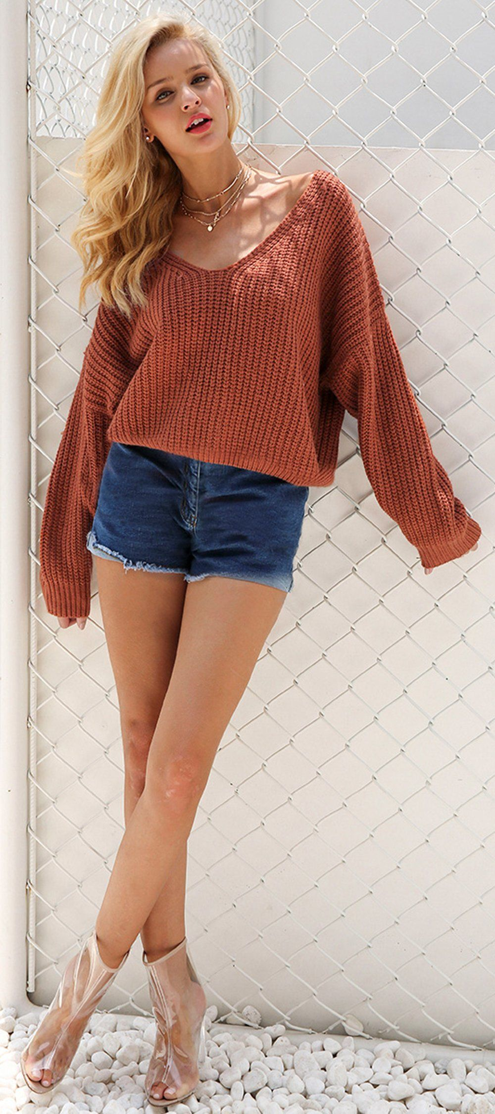 Cute Casual Spring Outfit Ideas for Teen Girls for School 2018 Shorts  Oversized Knitted Sweater with Lace Up Back - www.GlamantiBeauty.com 4cc182397