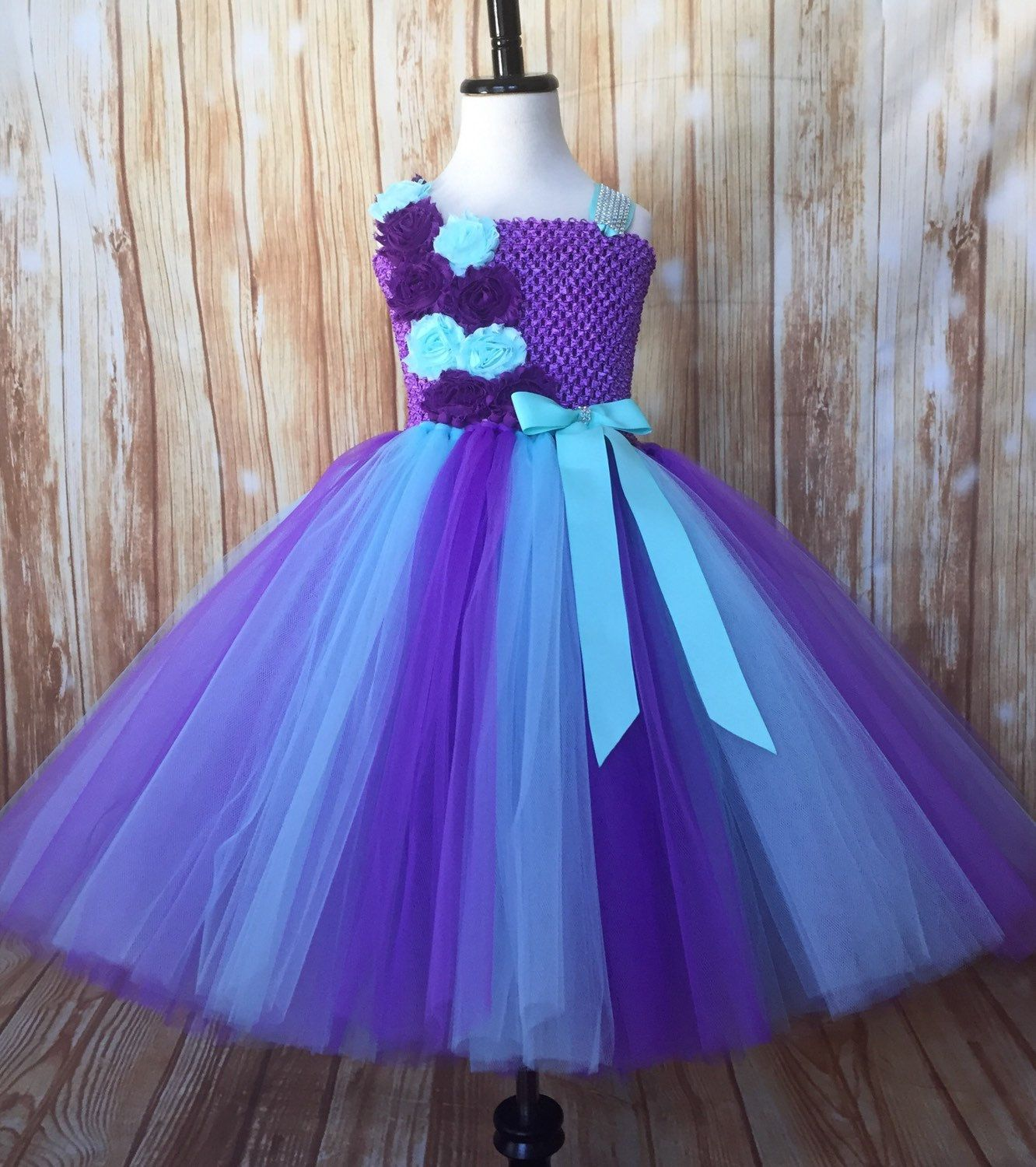 Purple And Aqua Tulle Tutu Dress Embellished With Shabby Flowers And A Touch Of Bling Flower Girl Flower Girl Dresses Tutu Tutus For Girls Flower Girl Tutu [ 1500 x 1332 Pixel ]