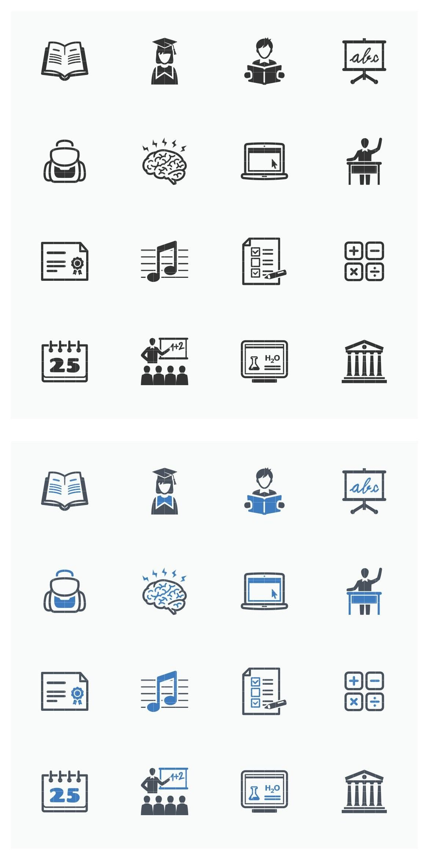 Education Icons Set 2 Blue Series Education Icon
