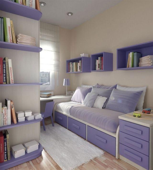 Kleines Jugendzimmer Gestaltung Lila Bett Bettkasten Wandregale