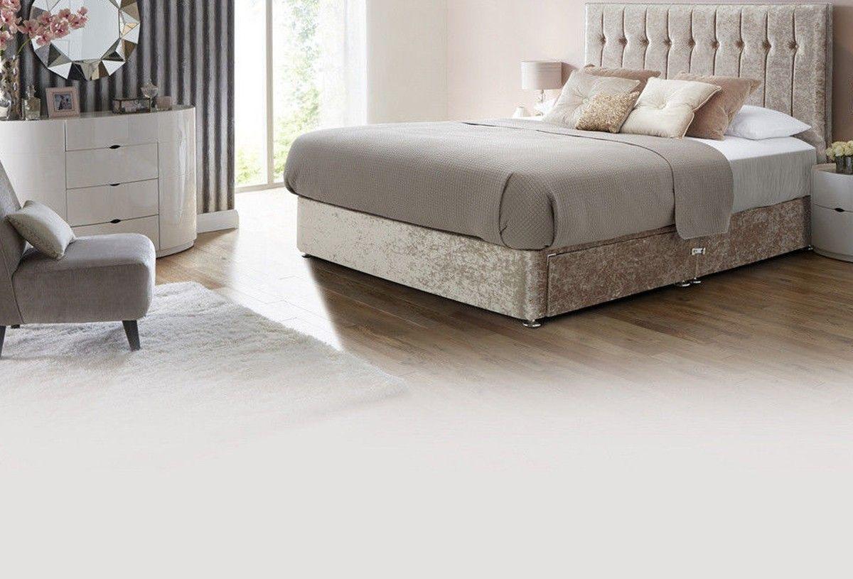 New York Crushed Velvet Divan Bed Free Fast Delivery