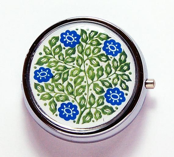 Round Floral Pill Box In Blue And Green Vintage Design On Pill Case