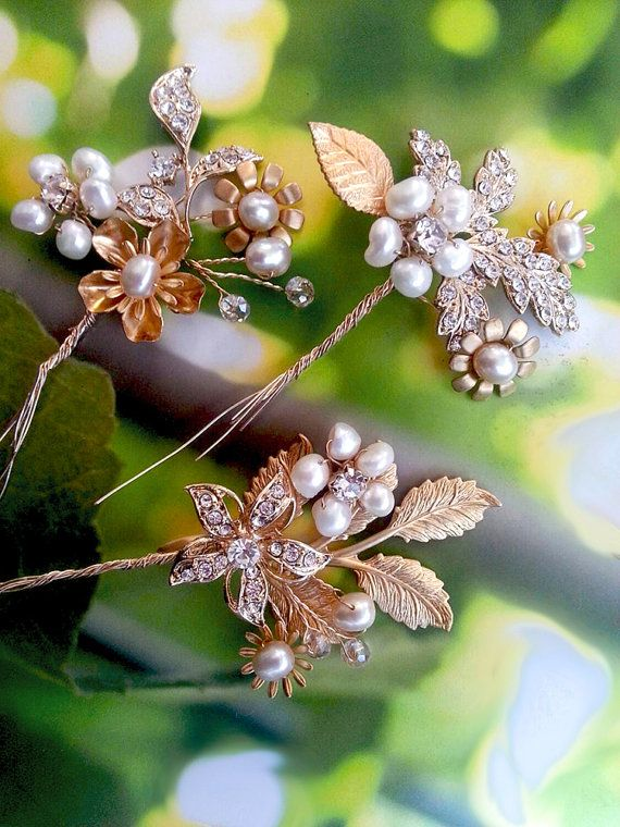 NEW Wedding Hair Pins with Gold Rhinestone Leaves and Freshwater Pearls