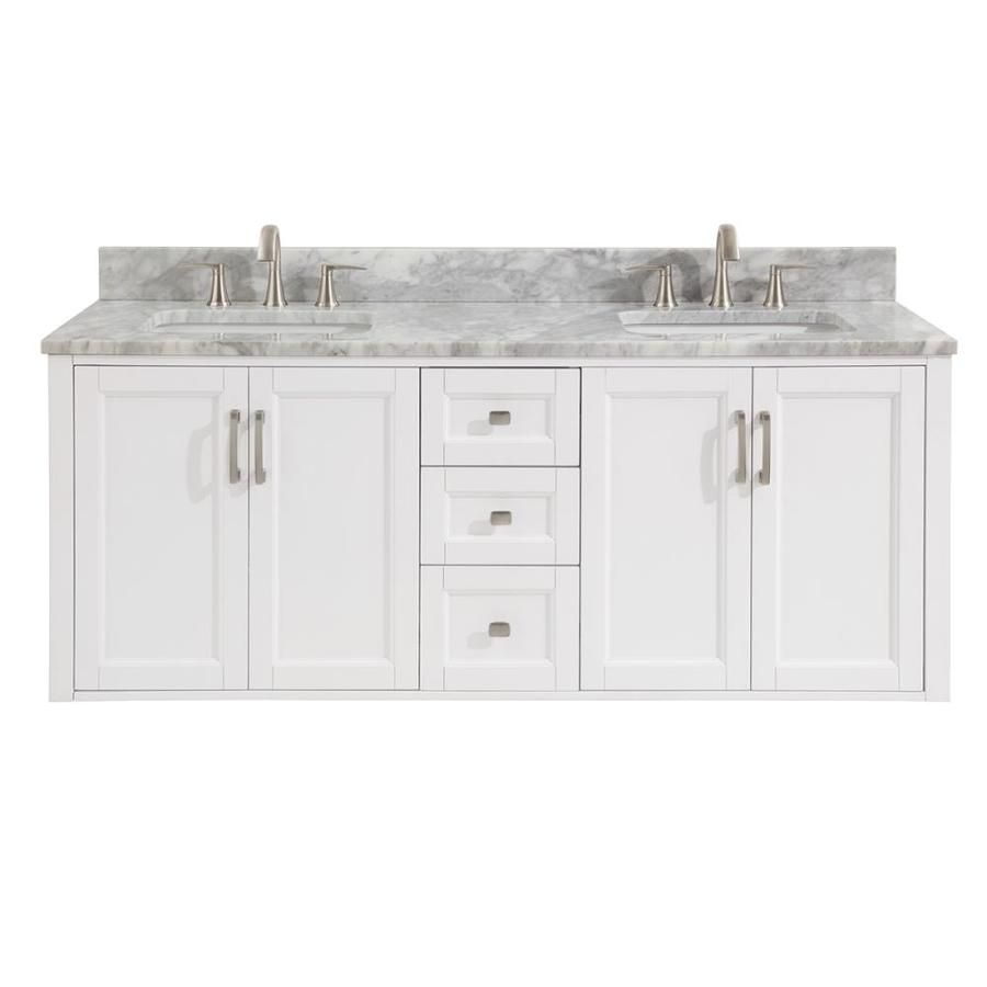 Allen Roth White Double Sink Vanity With Natural Italian
